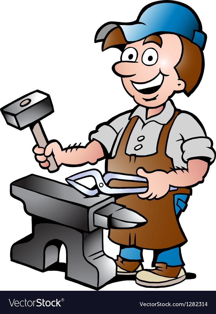 Happy blacksmith worker vector