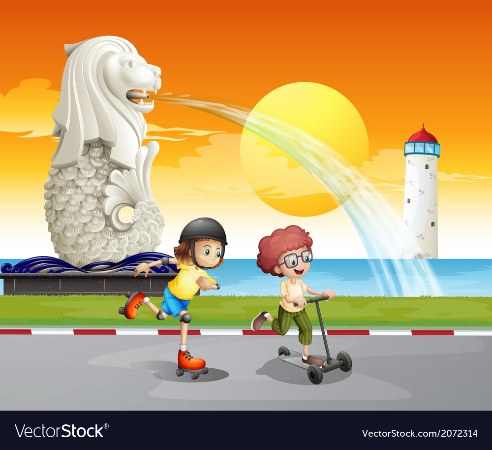 Kids playing near the statue of merlion vector | Price: 1 Credit (USD $1)