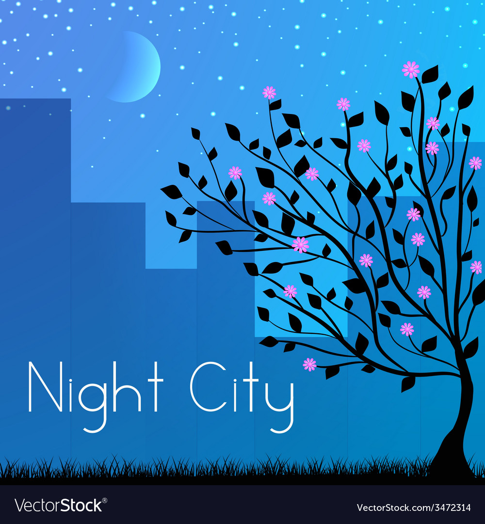 Night city background concept vector | Price: 1 Credit (USD $1)