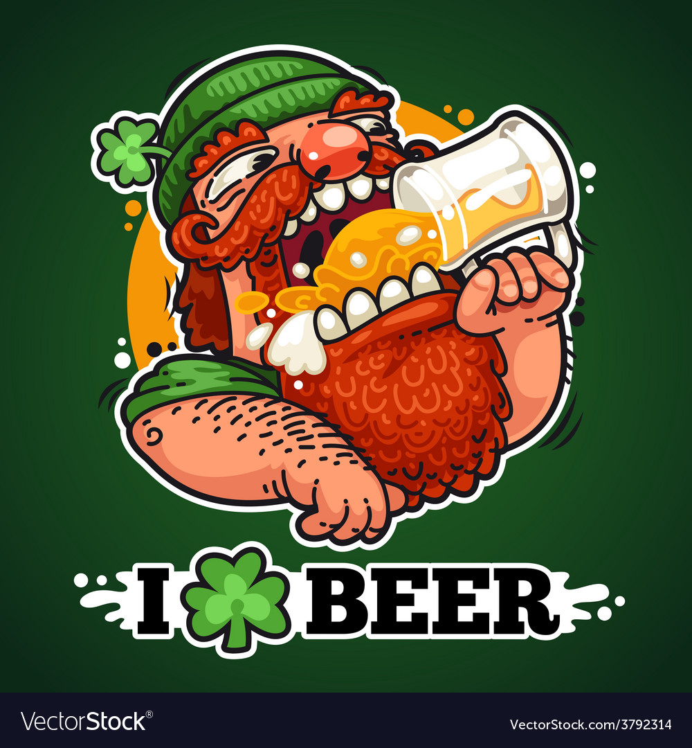 Patrick with beer vector | Price: 3 Credit (USD $3)