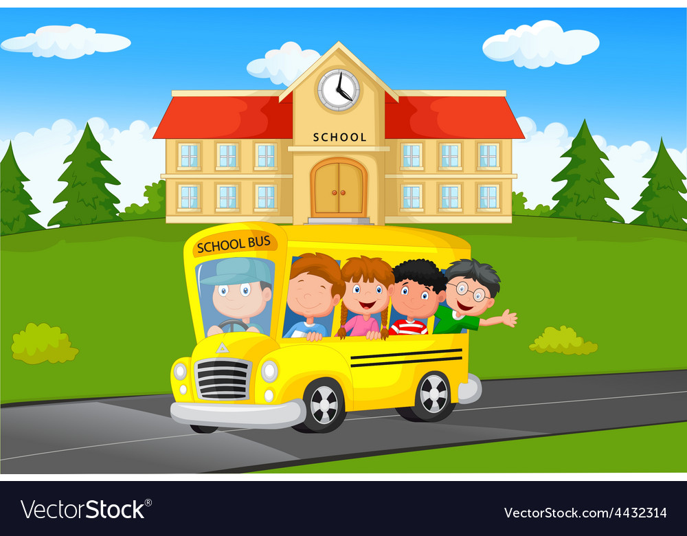 School kids riding a school bus vector | Price: 3 Credit (USD $3)
