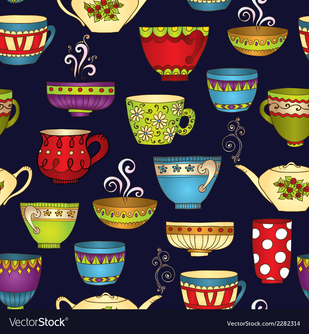 Tea coffee and sweets doodle seamless pattern vector | Price: 1 Credit (USD $1)