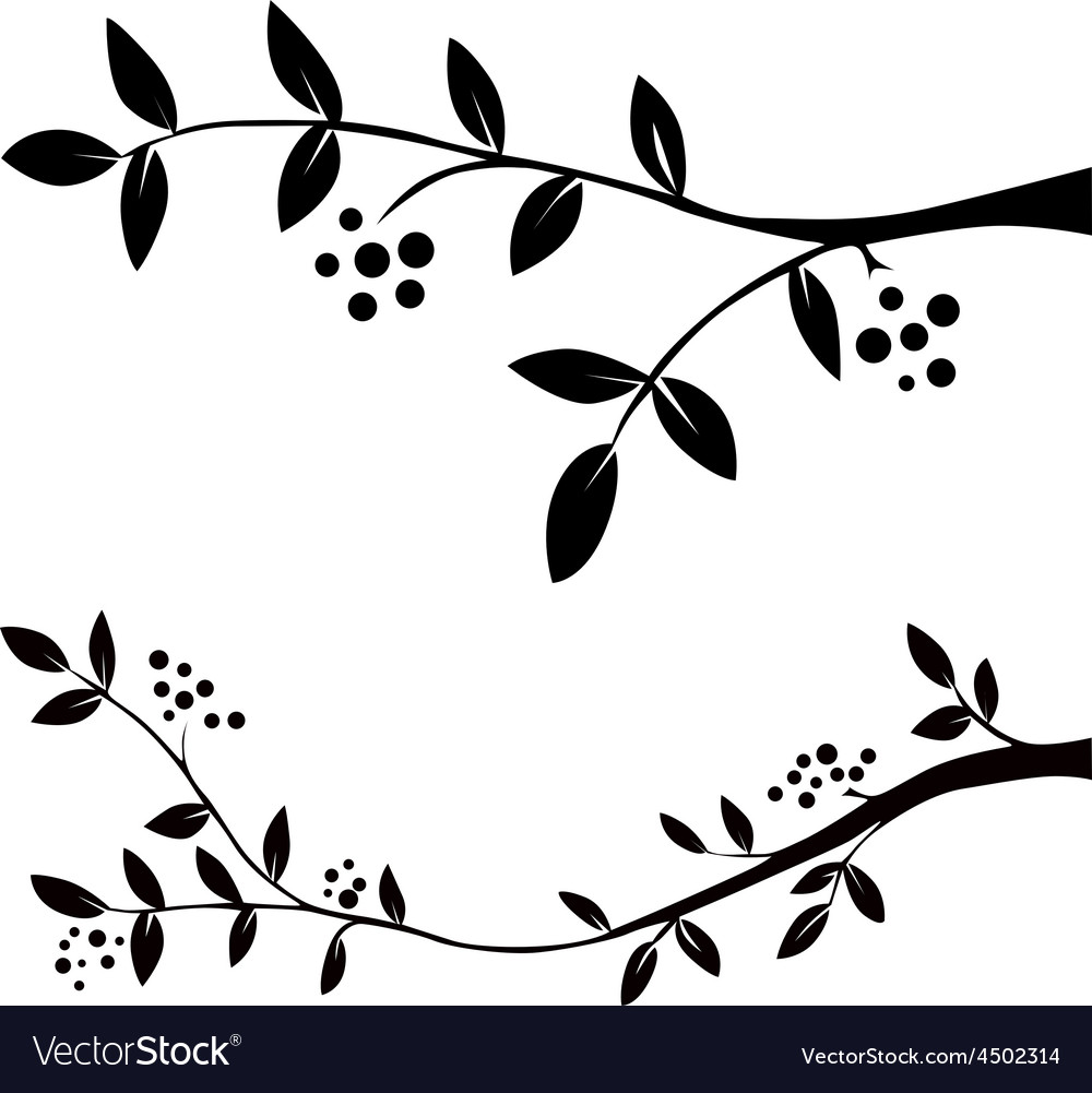 Twig with leaves and berries - black silhouette vector | Price: 1 Credit (USD $1)