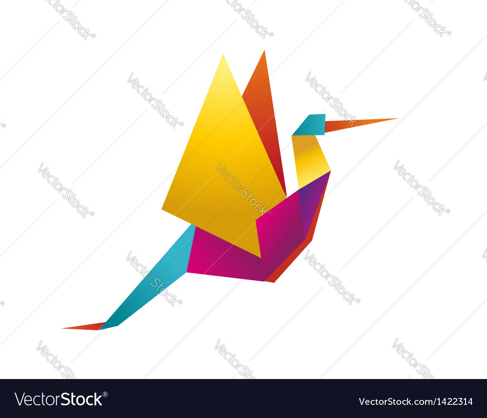 Vibrant colors origami stork vector | Price: 1 Credit (USD $1)