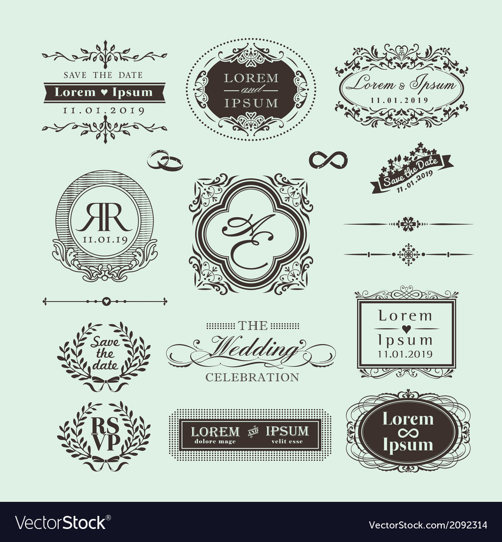 Vintage style wedding monogram symbol border frame vector | Price: 1 Credit (USD $1)