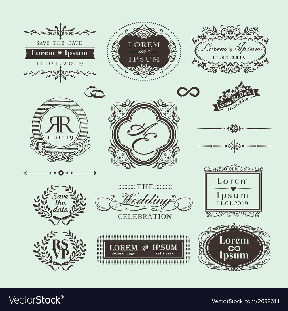 Vintage style wedding monogram symbol border frame vector | Price: 1 Credit (USD $1)