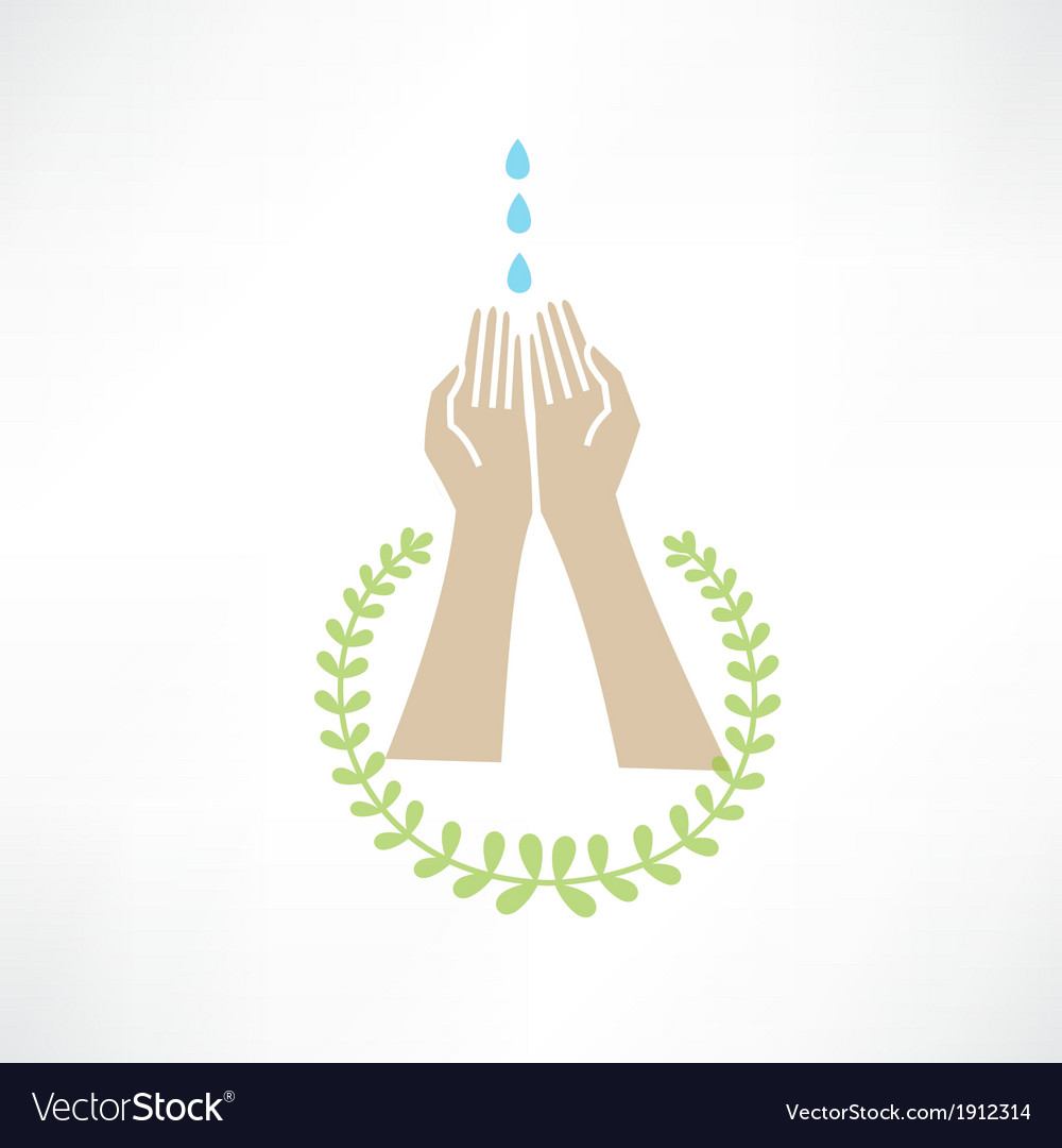 Water dripping on your hands around which leaves vector | Price: 1 Credit (USD $1)