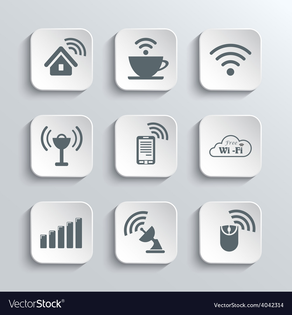 Wireless and wi-fi web icons set vector | Price: 1 Credit (USD $1)