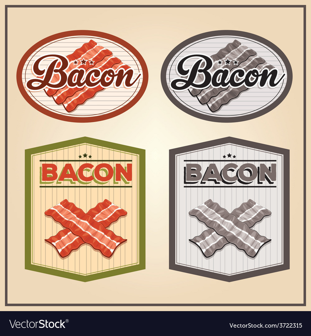 Bacon meat vintage labels vector | Price: 1 Credit (USD $1)
