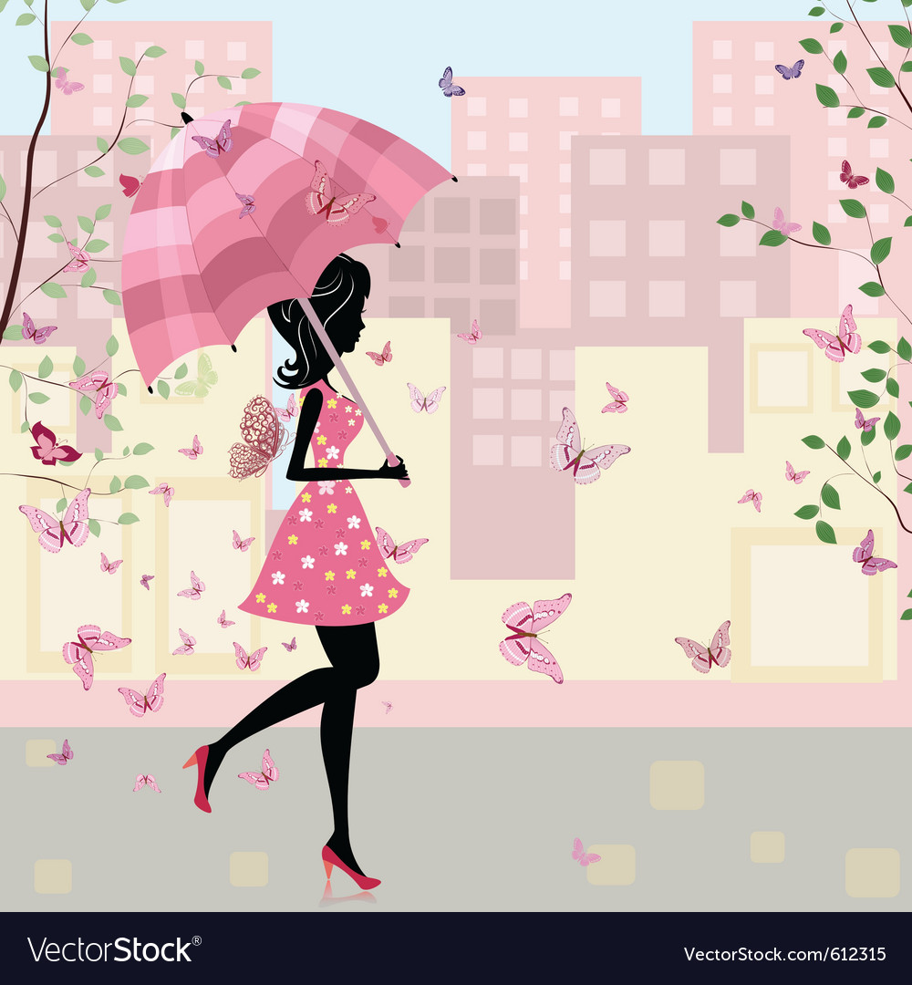 Beautiful girl with an umbrella in the city vector | Price: 1 Credit (USD $1)