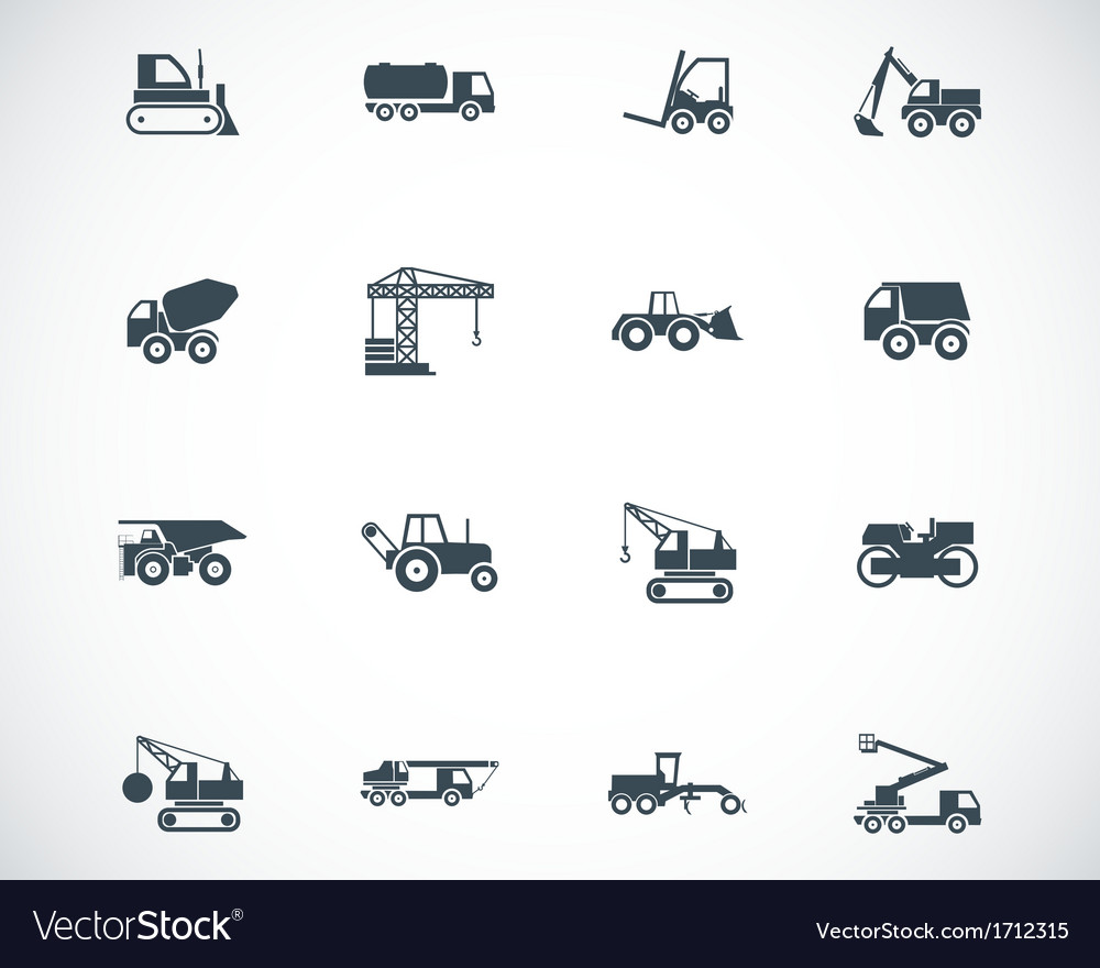 Black construction transport icons set vector | Price: 1 Credit (USD $1)