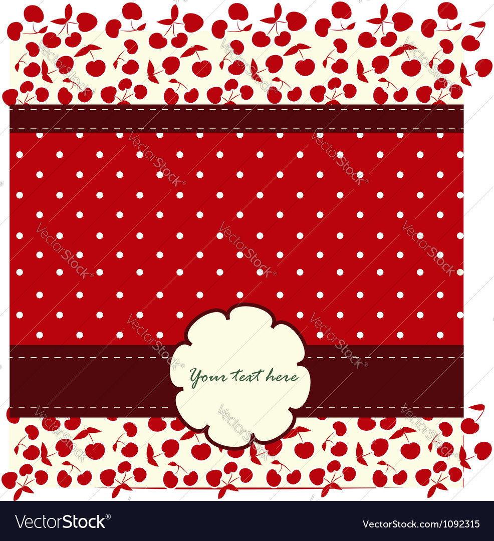 Card with cherries and nice pattern vector | Price: 1 Credit (USD $1)