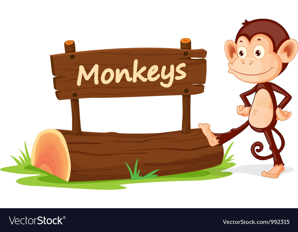 Cartoon zoo monkey sign vector | Price: 1 Credit (USD $1)