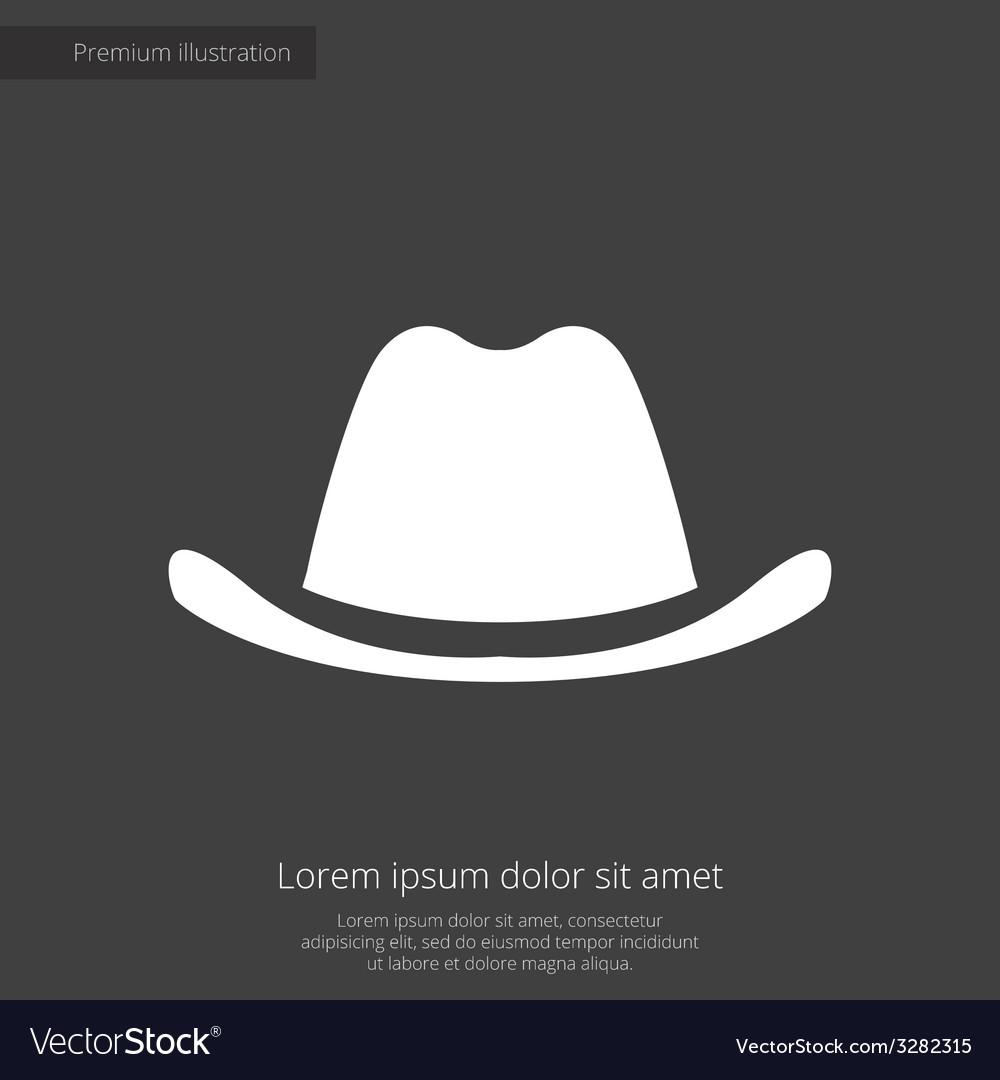 Classic hat premium icon white on dark background vector   Price: 1 Credit (USD $1)