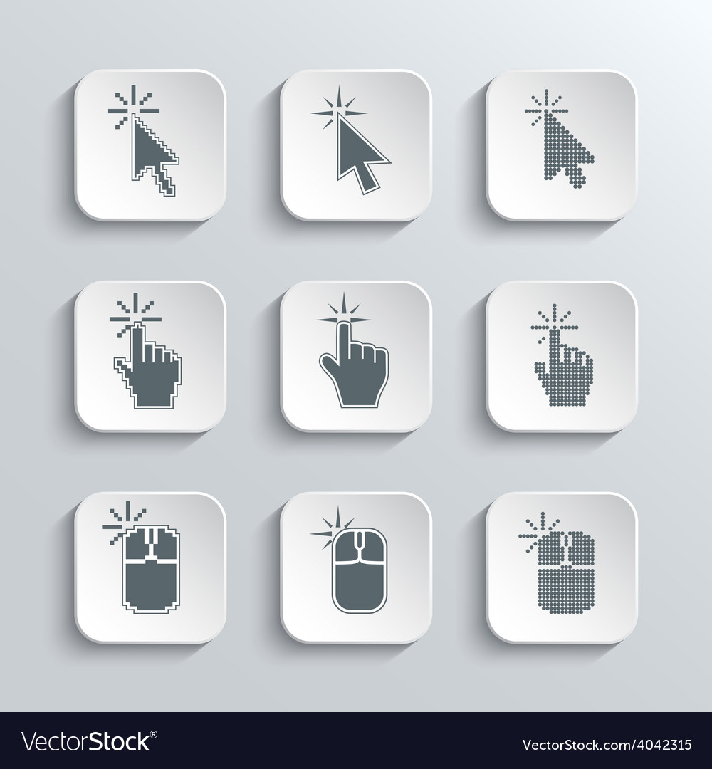 Click here mouse web icons set vector | Price: 1 Credit (USD $1)