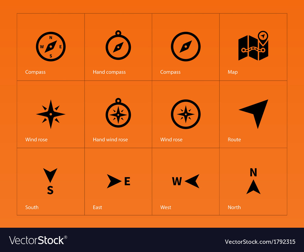 Compass icons on orange background vector | Price: 1 Credit (USD $1)