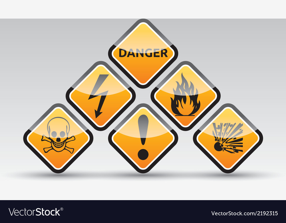Danger round corner warning sign set vector | Price: 1 Credit (USD $1)