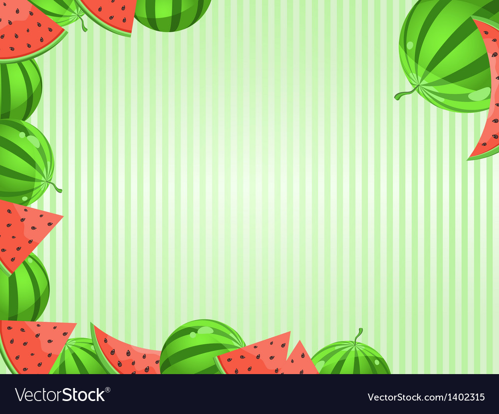 Greeting card with watermelon decoration vector | Price: 1 Credit (USD $1)