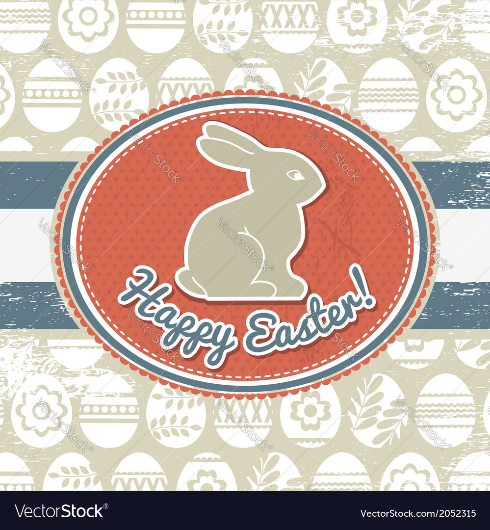 Grunge background with easter eggs and rabbit vector | Price: 1 Credit (USD $1)