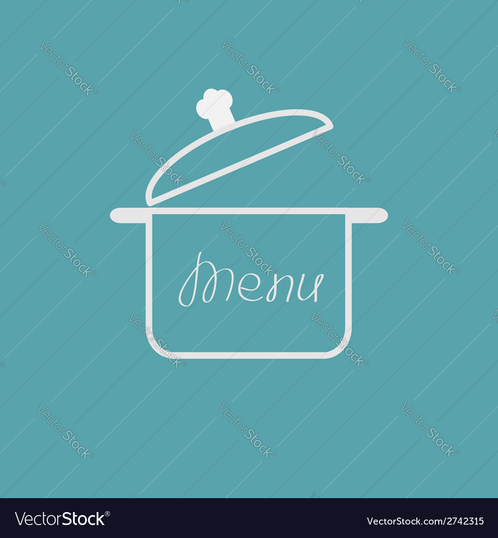 Menu cover with open saucepan flat design style vector | Price: 1 Credit (USD $1)