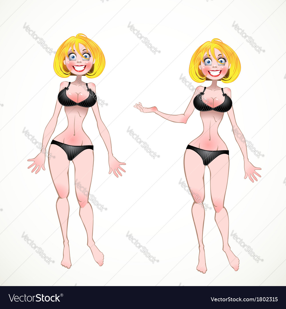 Nude blond on black underwear in two poses of vector | Price: 3 Credit (USD $3)