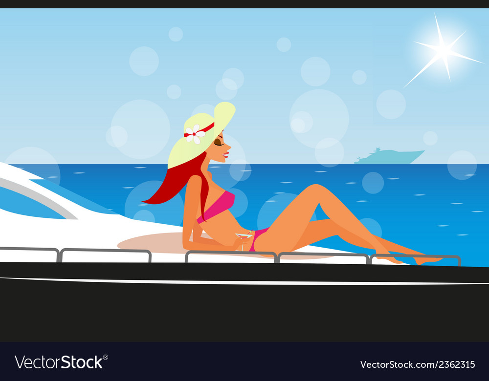 Redhair girl is sunbathing on the yacht vector | Price: 1 Credit (USD $1)