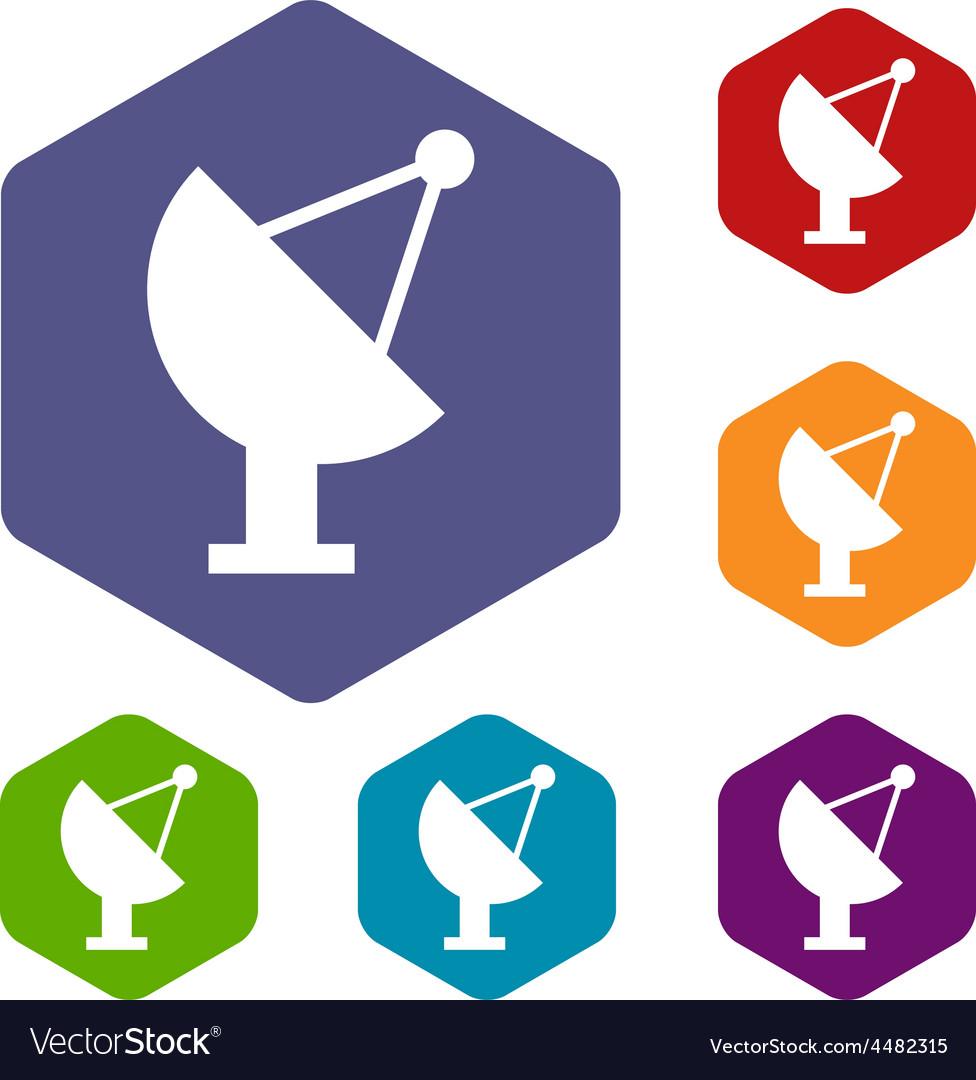 Satellite antenna rhombus icons vector | Price: 1 Credit (USD $1)