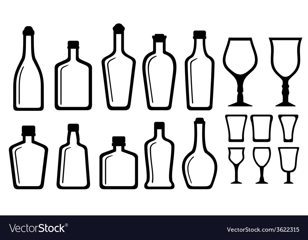 Set alcohol bottle and glass vector | Price: 1 Credit (USD $1)