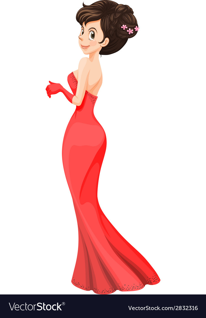 A lady wearing a cocktail dress vector | Price: 1 Credit (USD $1)
