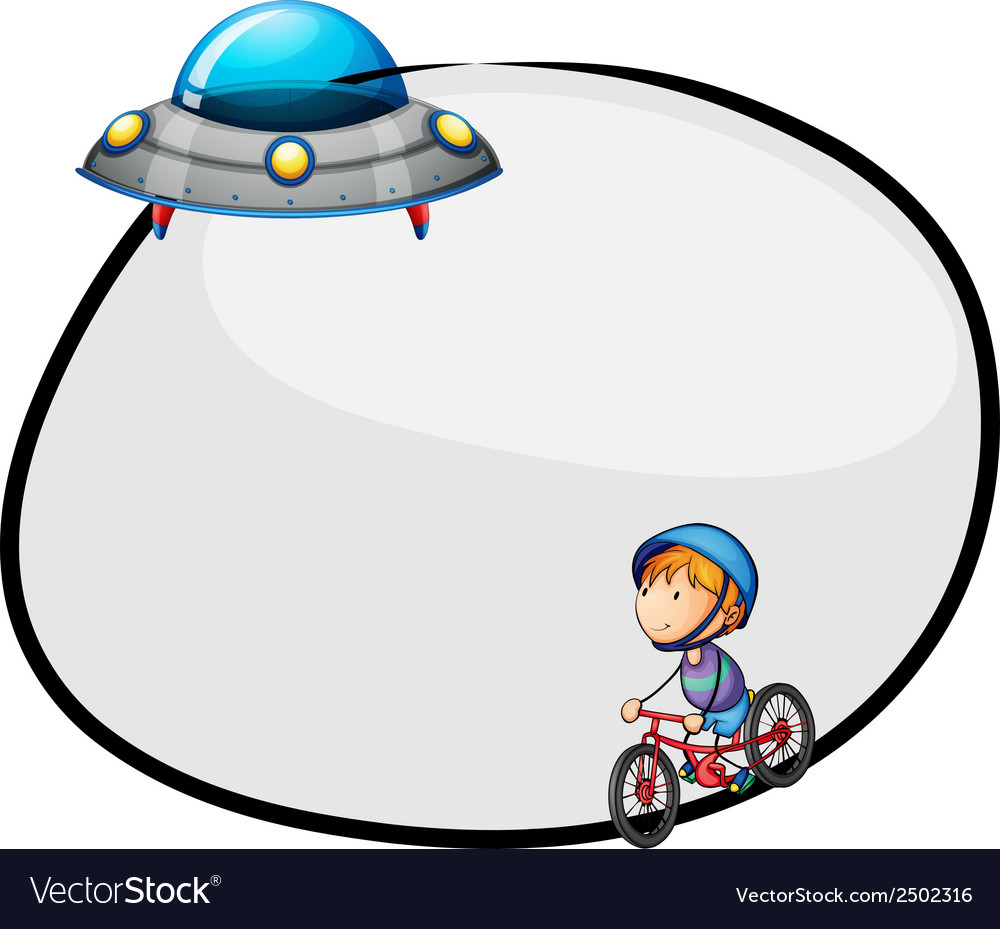 A round empty template with a flying saucer and a vector | Price: 1 Credit (USD $1)