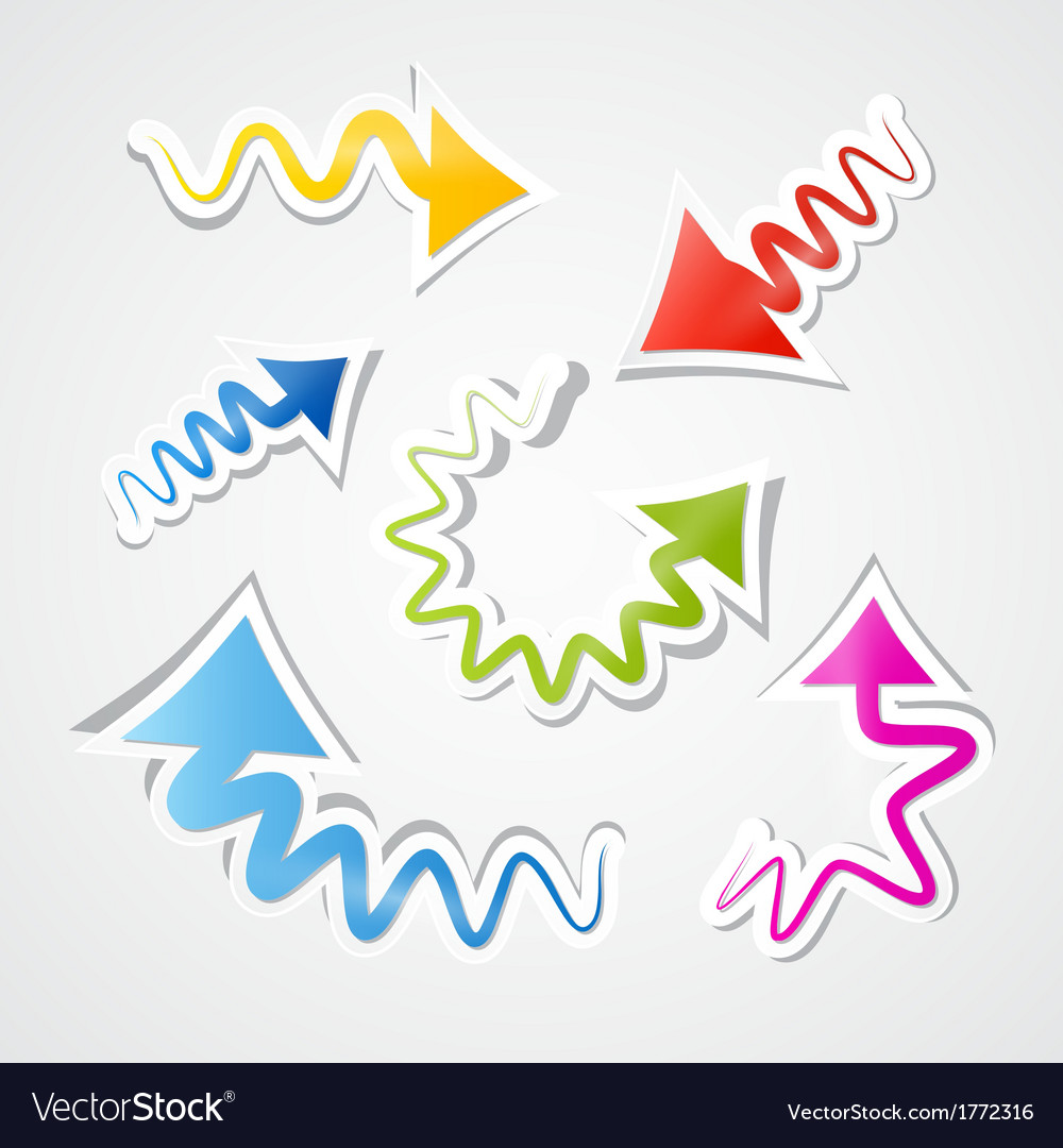 Abstract colorful paper arrows set vector | Price: 1 Credit (USD $1)