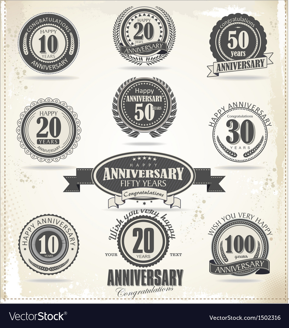 Anniversary retro badge and labels vector | Price: 1 Credit (USD $1)