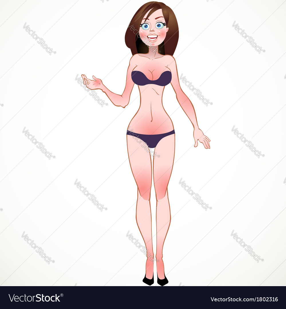 Brown-haired in blue underwear vector | Price: 3 Credit (USD $3)