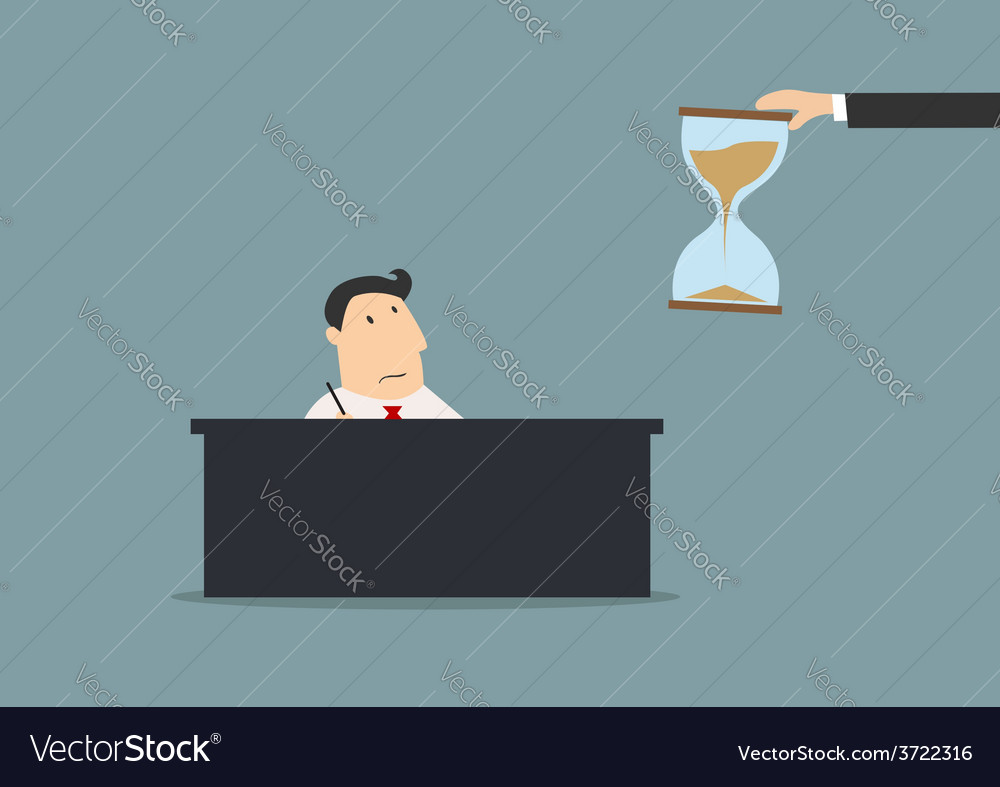 Businessman looking at hourglasses in flat cartoon vector | Price: 1 Credit (USD $1)