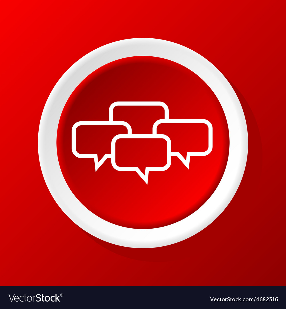 Chat icon on red vector | Price: 1 Credit (USD $1)