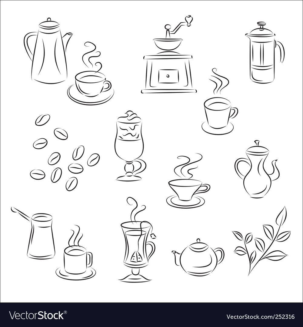 Coffee and tea set vector | Price: 1 Credit (USD $1)