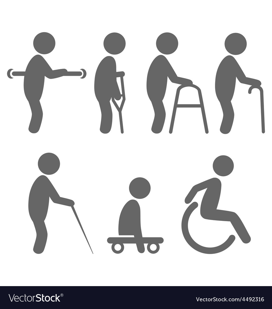 Disability people pictograms flat icons isolated vector | Price: 1 Credit (USD $1)