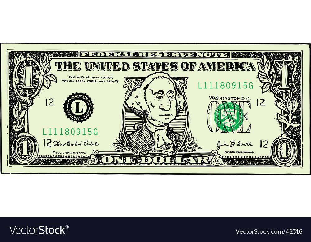 Dollar bill cartoon vector | Price: 1 Credit (USD $1)