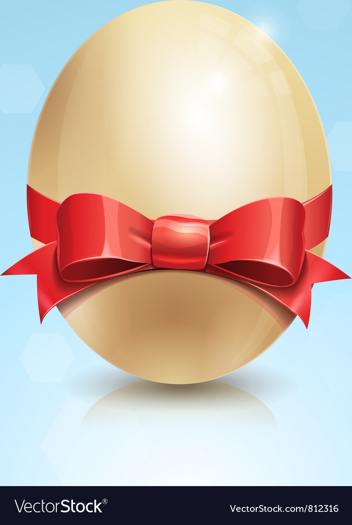 Easter egg with red bow vector | Price: 1 Credit (USD $1)