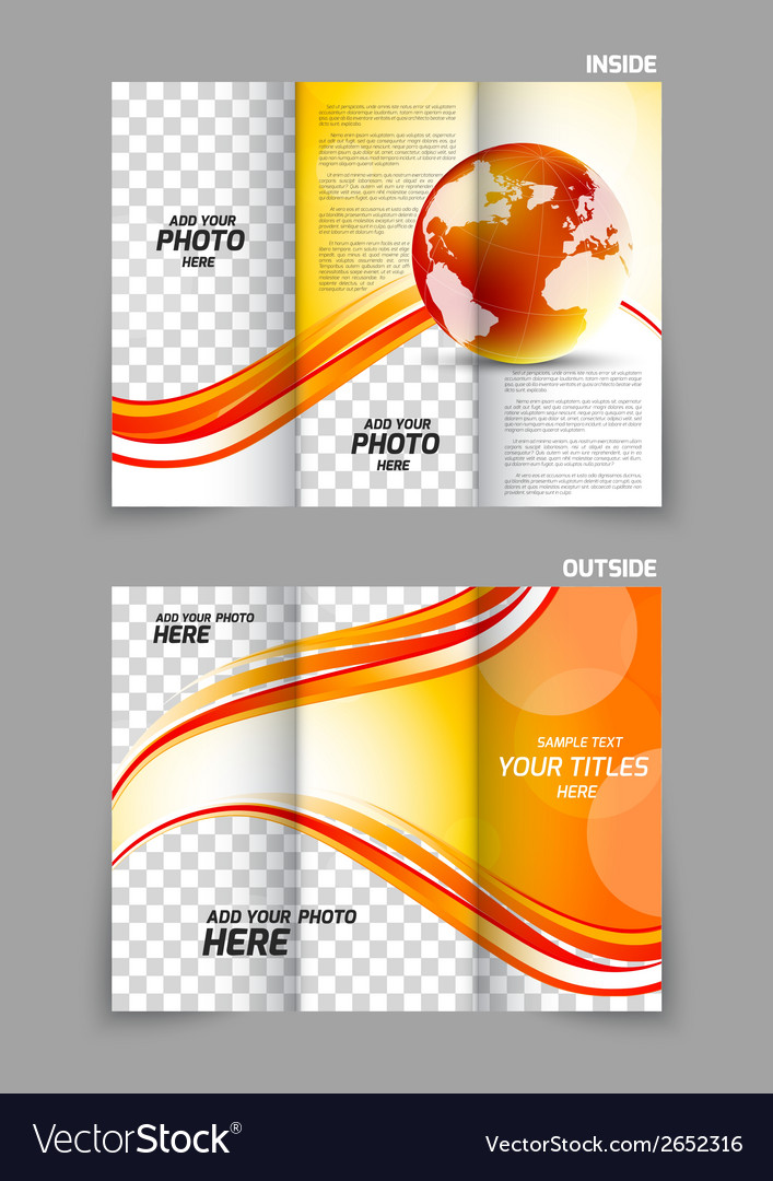 Globe wave tech tri-fold brochure vector | Price: 1 Credit (USD $1)