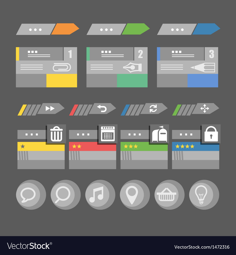 Interface bars template with icons vector | Price: 1 Credit (USD $1)