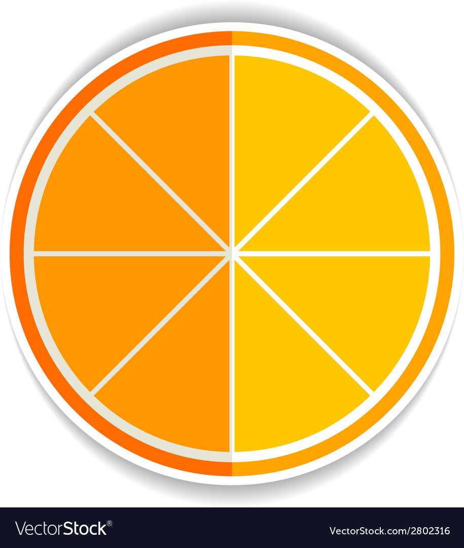Lemon orange fruit flat icon yellow ripe orange vector | Price: 1 Credit (USD $1)