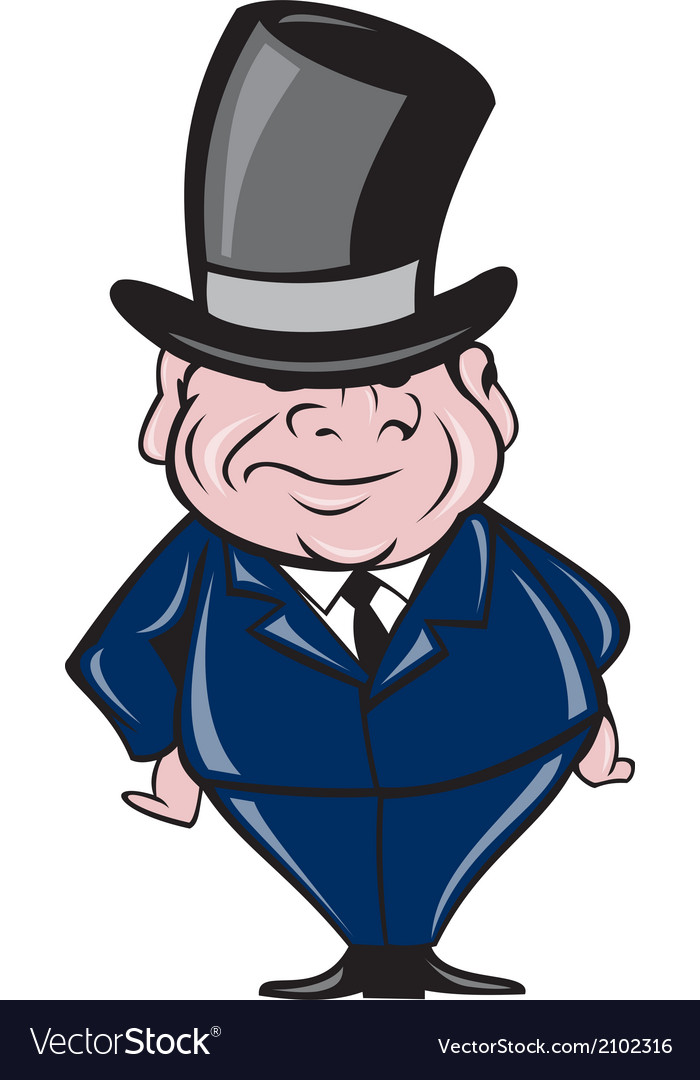 Man wearing top hat smiling cartoon vector | Price: 1 Credit (USD $1)