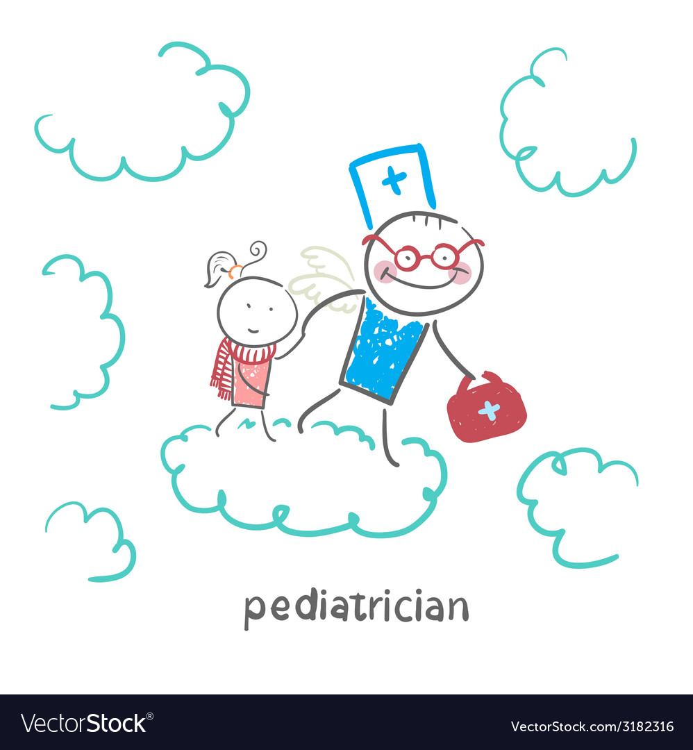 Pediatrician with baby runs on clouds vector | Price: 1 Credit (USD $1)