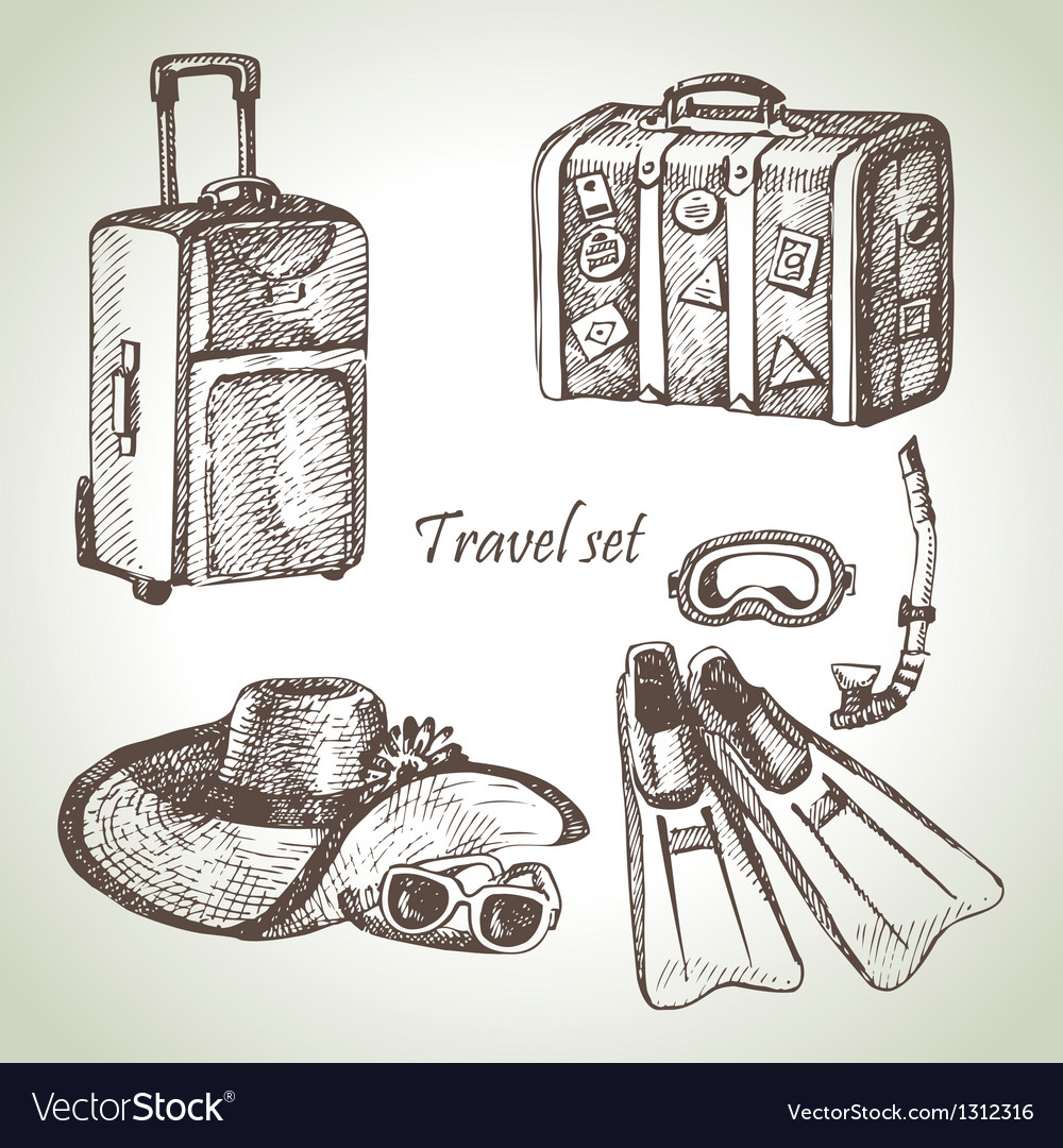 Travel set hand drawn vector | Price: 1 Credit (USD $1)