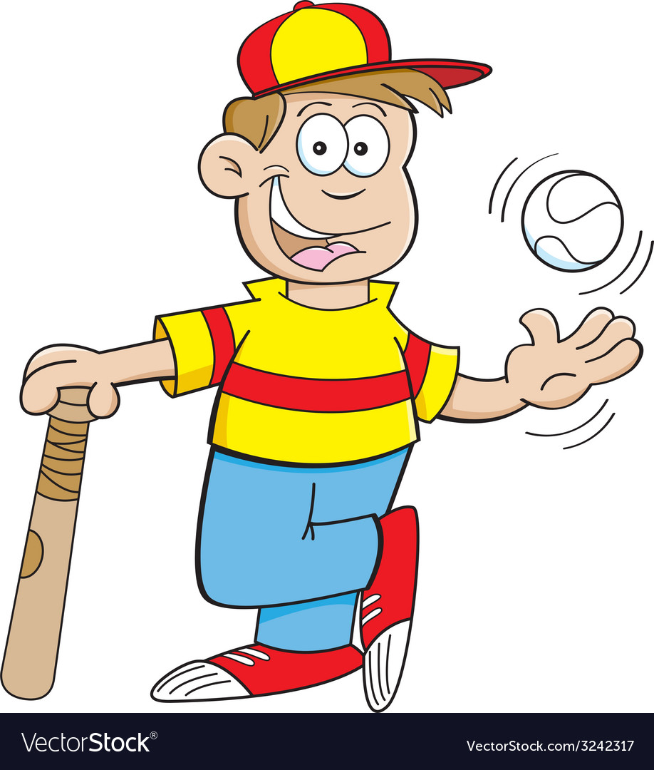 Cartoon boy with a baseball and bat vector | Price: 1 Credit (USD $1)