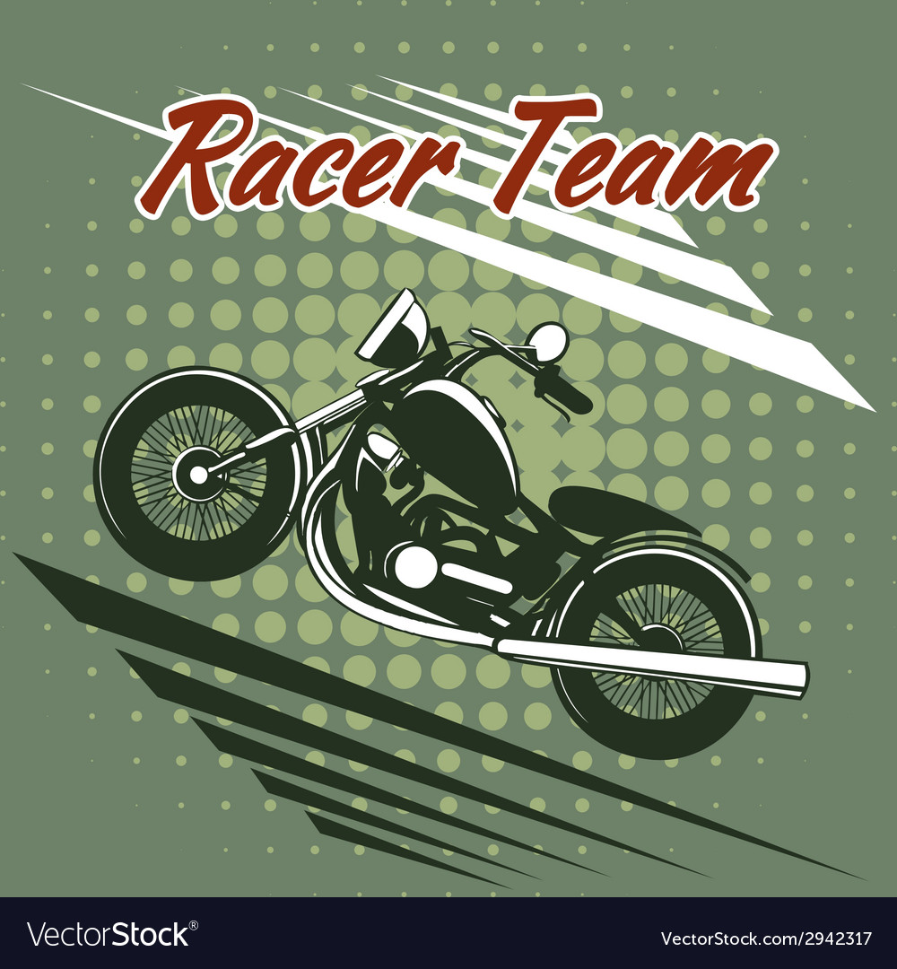 Classic motorcycle race team design vector | Price: 1 Credit (USD $1)