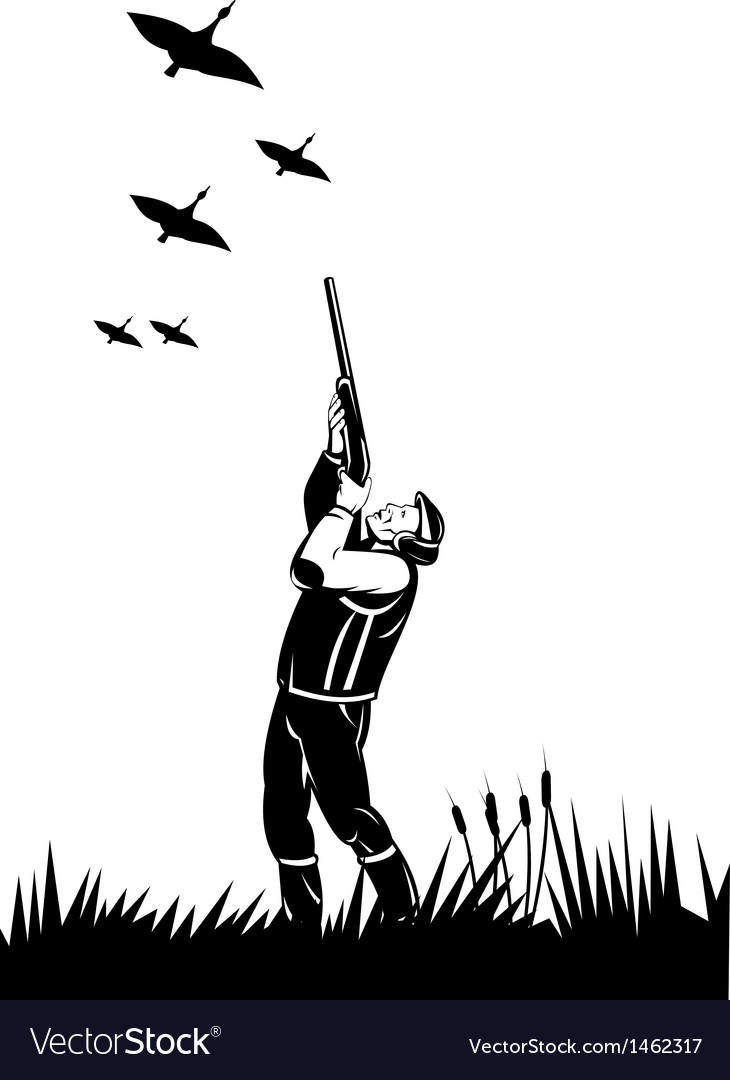 Hunter aiming shotgun rifle at duck vector   Price: 1 Credit (USD $1)
