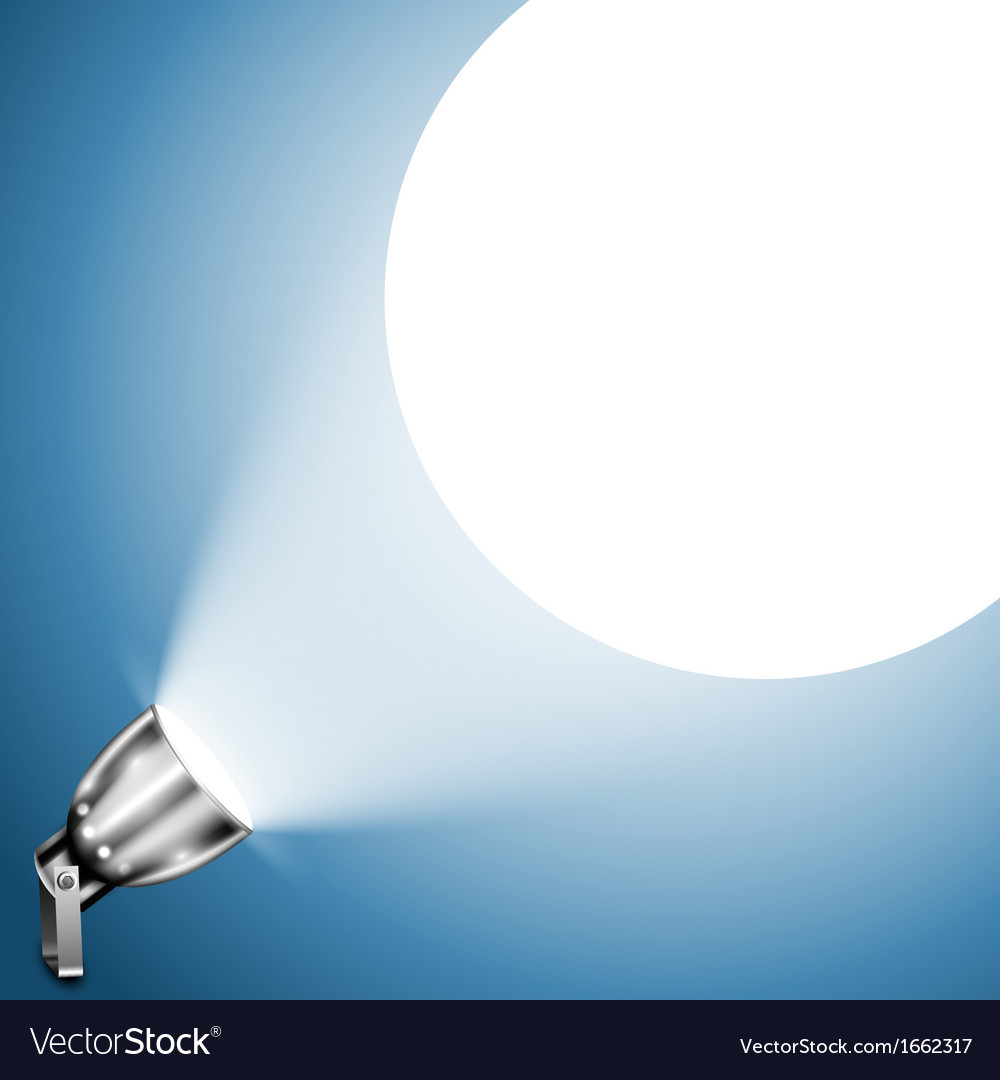 Metallic spotlight projecting on blue wall vector