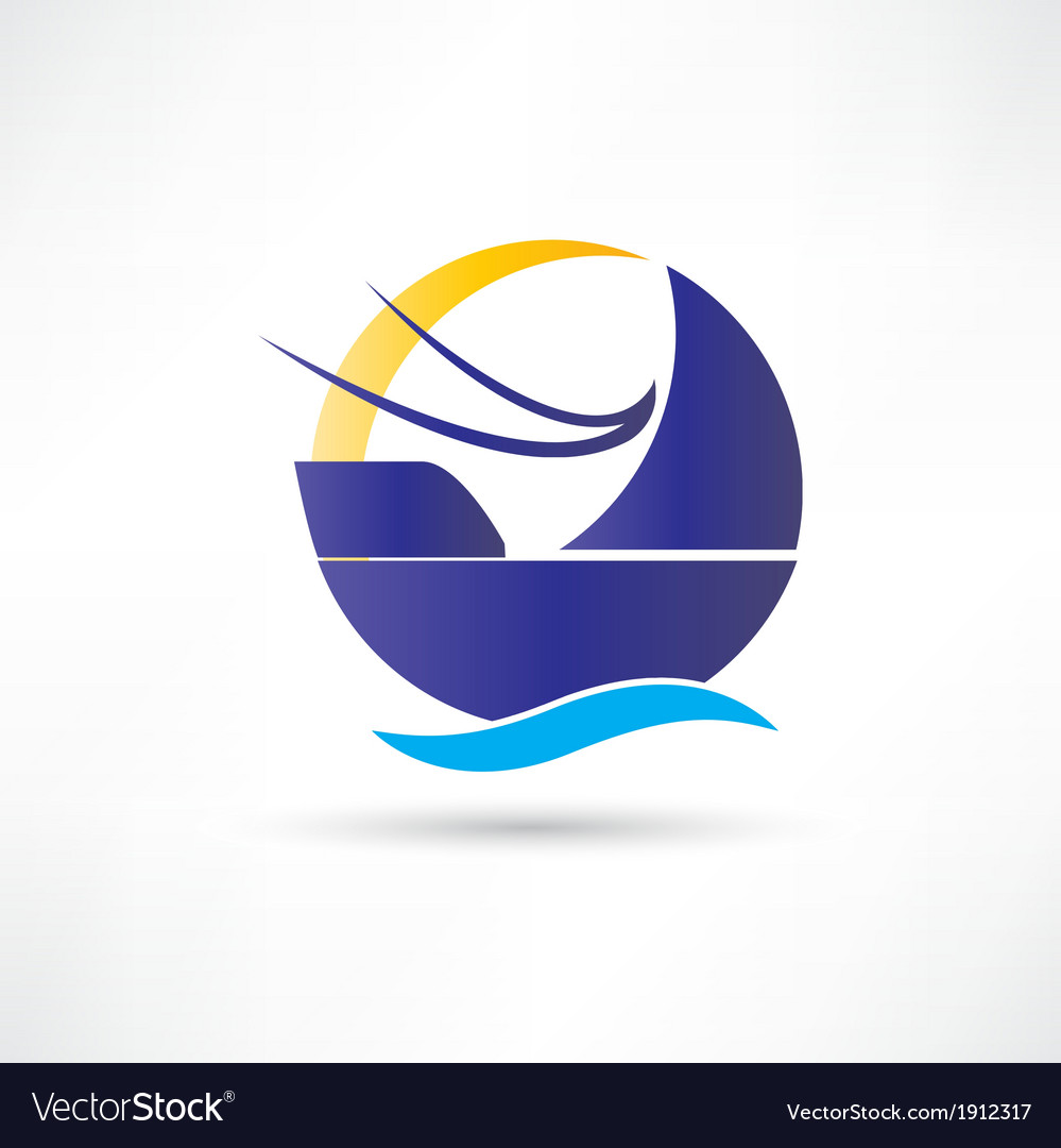 Sailboat sea sun icon vector | Price: 1 Credit (USD $1)